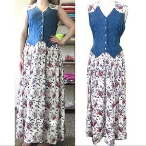 Vintage Western Denim Maxi Dress Cactus Desert L